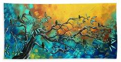 Dream Watchers Original Abstract Bird Painting Beach Towel