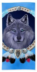 Dream Wolf Beach Towel by Glenn Holbrook