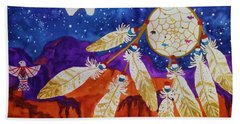 Dreamcatcher Over The Mesas Beach Sheet by Ellen Levinson