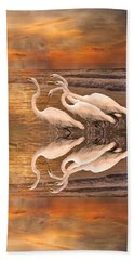 Dreaming Of Egrets By The Sea Reflection Beach Towel