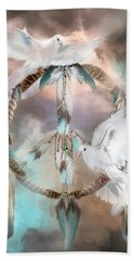 Dreams Of Peace Beach Towel by Carol Cavalaris