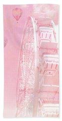 Dreamy Baby Pink Ferris Wheel Carnival Art With Hot Air Balloons Beach Sheet