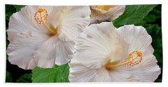 Dreamy Blooms - White Hibiscus Beach Towel