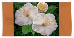 Dreamy Blooms - White Hibiscus Beach Towel