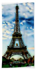 Dreamy Eiffel Tower Beach Towel by Kathy Churchman