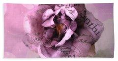 Purple Pink Lavender Impressionistic Rose - Shabby Chic Cottage Purple Lavender Rose Floral Print Beach Towel