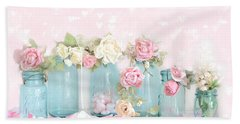 Dreamy Shabby Chic Pink White Roses  - Vintage Aqua Teal Ball Jars Romantic Floral Roses  Beach Towel