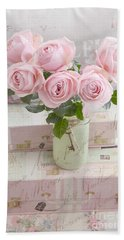 Shabby Chic Cottage Pink Romantic Roses, Paris Pink Roses Shabby Chic Prints Home Decor Beach Towel