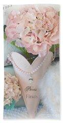 Paris Shabby Chic Pink Hydrangeas Heart - Romantic Cottage Chic Paris Pink Shabby Chic Hydrangea Art Beach Towel