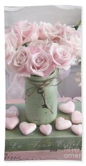 Shabby Chic Pink Roses - Romantic Valentine Roses Hearts Floral Prints Home Decor - Romantic Roses  Beach Towel