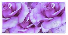 Dreamy Shabby Chic Purple Lavender Paris Roses - Dreamy Lavender Roses Cottage Floral Art Beach Towel