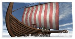 Drekar Viking Ship Navigating The Ocean Beach Towel