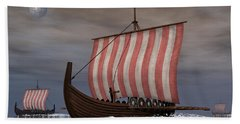 Drekar Viking Ships Navigating Beach Towel