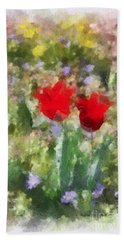 Beach Towel featuring the painting Dressed In Red  by Kerri Farley