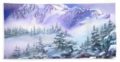 Beach Sheet featuring the painting Dressed In White Mount Shuksan by Sherry Shipley