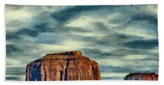 Beach Towel featuring the painting Drifting Over Monument Valley by Jeff Kolker