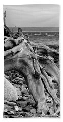 Driftwood On Rocky Beach Beach Towel