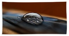 Drop On A Bluejay Feather Beach Sheet