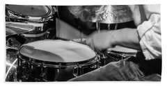 Drummer At Work Beach Sheet by Photographic Arts And Design Studio