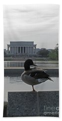 Duck And Lincoln Memorial   #0850 Beach Towel