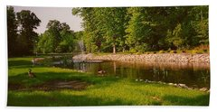 Duck Pond With Water Fountain Beach Sheet by Amazing Photographs AKA Christian Wilson