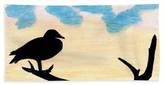 Beach Towel featuring the drawing Duck Sunset by D Hackett