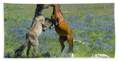 Dueling Mustangs Beach Towel
