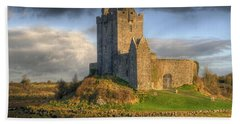 Dunguaire Castle With Dramatic Sky Kinvara Galway Ireland Beach Towel