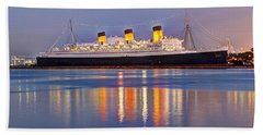 Dusk Light On The Queen Mary Beach Towel