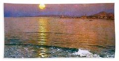 Dusk Over Coast Of Malaga Beach Towel by Pg Reproductions