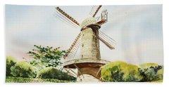 Dutch Windmill In San Francisco  Beach Sheet