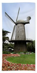 Dutch Windmill With Queen Wilhelmina Garden Beach Towel