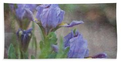 Dwarf Iris With Texture Beach Towel by Patti Deters