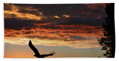Beach Towel featuring the photograph Eagle At Sunset by Shane Bechler