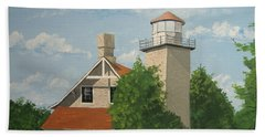 Beach Towel featuring the painting Eagle Bluff Lighthouse Wisconsin by Norm Starks