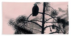 Beach Towel featuring the drawing Eagle In Pink Sky by D Hackett