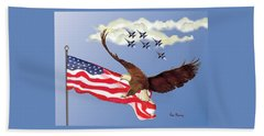 Eagle Soaring With Blue Angels Beach Sheet