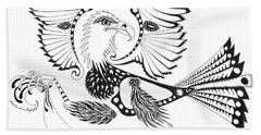 Eagle With A Banner Beach Sheet by Melinda Dare Benfield