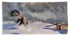 Eagles And Rabbit, 1922 Beach Towel by Bruno Andreas Liljefors