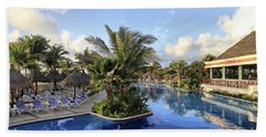 Early Morning At The Pool Beach Towel by Teresa Zieba