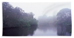 Early Morning Fog On A Creek, South Beach Towel by Panoramic Images