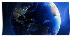 Earth And Galaxy With City Lights Beach Towel