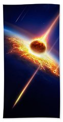 Earth In A  Meteor Shower Beach Towel