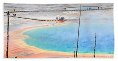 Earth Rainbow - Overhead View Of Grand Prismatic Spring In Yellowstone National Park.  Beach Towel