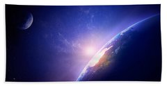 Earth Sunrise In Foggy Space Beach Towel