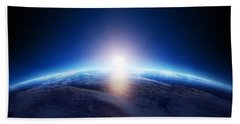 Earth Sunrise Over Cloudy Ocean  Beach Towel