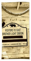 East Brother Light Station Visitor Sign Beach Sheet