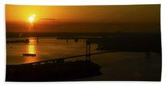 East River Sunrise Beach Sheet by Greg Reed