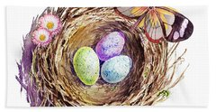 Easter Colors Bird Nest Beach Sheet by Irina Sztukowski