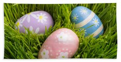 Easter Eggs In The Grass Beach Towel